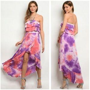 Coral Purple Tie-Dye Maxi Skirt & Top Set